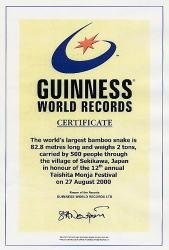 ギネスワールドレコード証明書